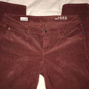 Gap light weight corduroy dark dusty rose jeans 32